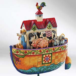"""Two By Two, All Creatures Of Faith"" Noah's Ark Rooster/Roof Figurine – Jim Shore Heartwood Creek 4007054"