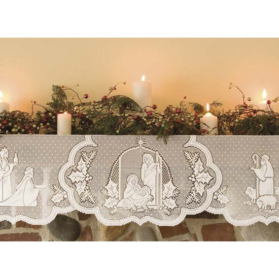 Silent Night Mantle Scarf - Heritage Lace Sl-2090MSW