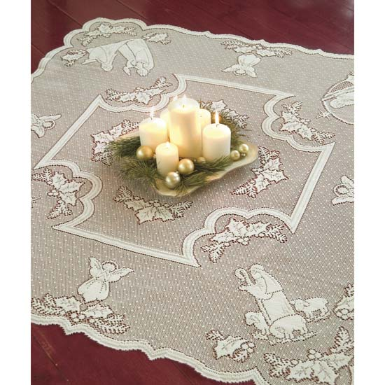 Silent Night Table Topper - Heritage Lace - Holiday and Winter Collection - Sl-4545W