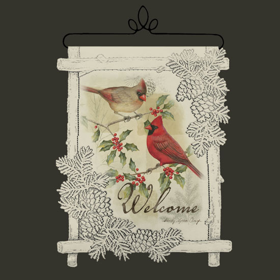 Cardinal Welcome - Heritage Lace Christmas Wall Hangings WH70C-0612