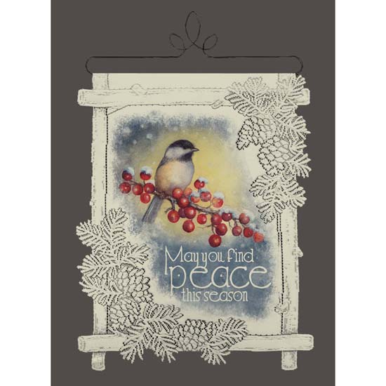 Chickadee and Berries - Heritage Lace Christmas Wall Hangings WH70C-0411