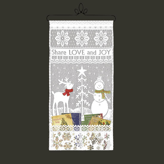 Share Love Card Holder with Scarves - Heritage Lace Wall Hangings WH75W-25