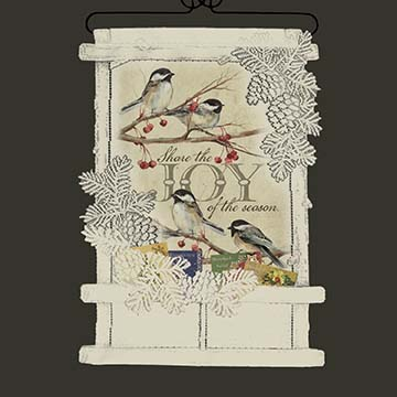 Chickadees-Share Joy Card Holder - Heritage Lace Wall Hangings WH71C-0694