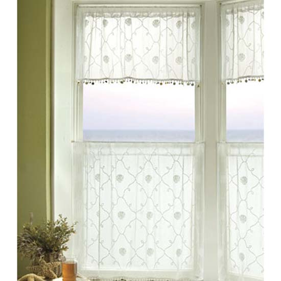 Beach Trellis Valance w/ Trim - Heritage Lace Coastal Collection 6340W-4216HT