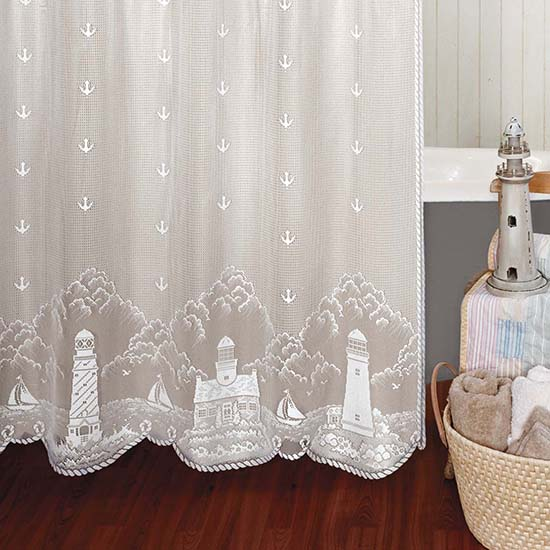 Lighthouse Shower Curtain - Heritage Lace Coastal Collection 6140W-OC