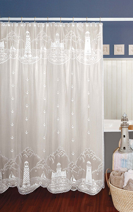 Lighthouse Shower Curtain – Heritage Lace Coastal Collection 6140W ...