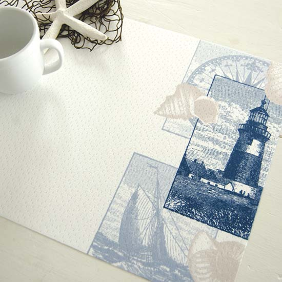 Lighthouse Collage Placemat – Heritage Lace – Coastal Collection – PE1319W-0544