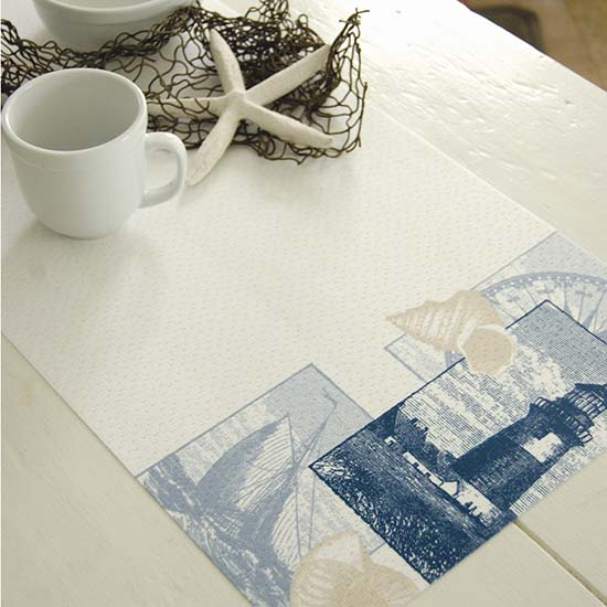 Lighthouse Collage 13″ x 45″ Runner – Heritage Lace – Coastal Collection – PE1345W-0544