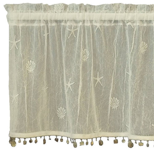 Sand Shell Valance with Trim - Heritage Lace - Coastal Collection - 7175E-4515ST, 7175W-4515ST