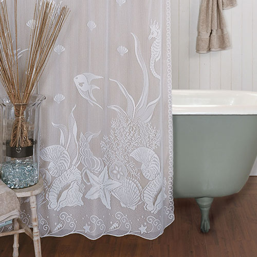 Seascape Shower Curtain - Heritage Lace 6155W-OC