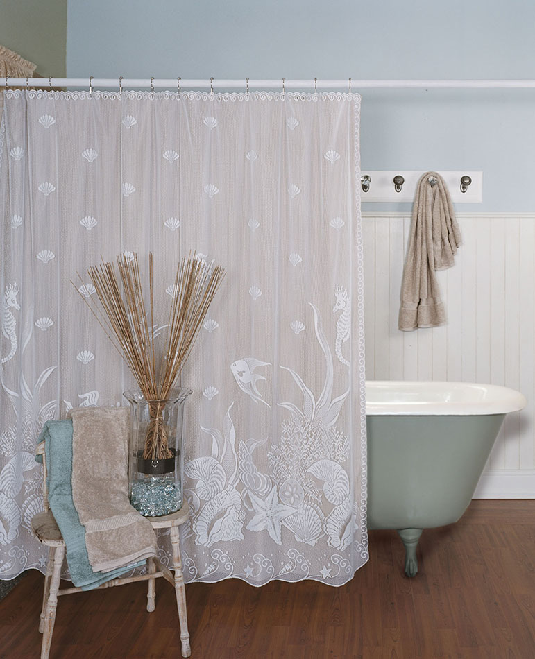Seascape Shower Curtain Heritage Lace 6155W OC