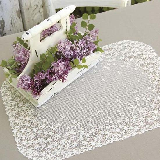 Blossom Placemat (set of 6) - Heritage Lace BL-1420E, BL-1420W