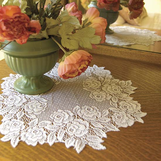 Tea Rose 15&#8243; Round Doily &#8211; Heritage Lace &#8211; Romantic Collection  &#8211; TR-1500E, TR-1500P, TR-1500W