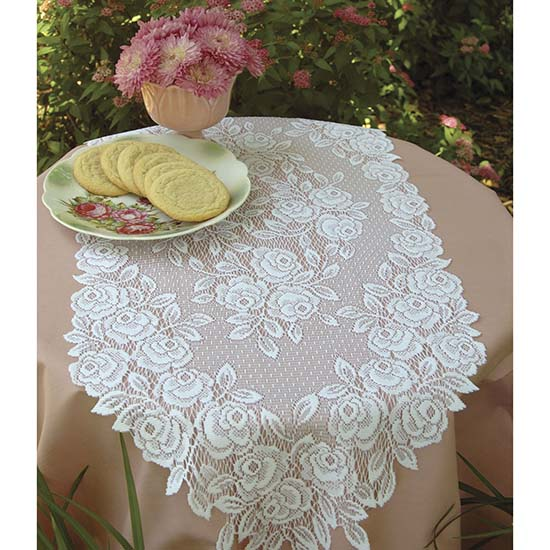 Tea Rose 36&#8243; Runner &#8211; Heritage Lace &#8211; Romantic Collection &#8211; TR-1436E, TR-1436P, TR-1436W