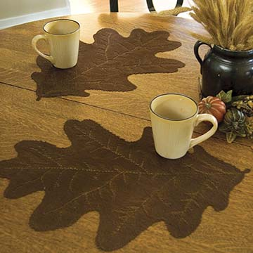 Leaf Oak Placemat (set of 2) - Heritage Lace Harvest Lodge OP-1418DP, OP-1418ER, OP-1418G