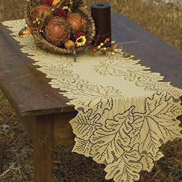 Leaf 14&#8243; x 68&#8243; Runner &#8211; Heritage Lace &#8211; Harvest / Lodge Collection &#8211; AM-1468DP, AM-1468ER, AM-1468G