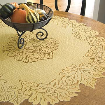 Leaf 36&#8243; Table Topper &#8211; Heritage Lace &#8211; Harvest / Lodge Collection &#8211; AM-3600DP, AM-3600ER, AM-3600G