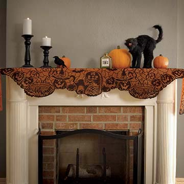 Rest in Peace Mantle Scarf – Heritage Lace – Halloween Collection – RP-1990MSBO