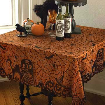 Rest in Peace 60″ x 60″ Table Topper – Heritage Lace – Halloween Collection – RP-6060BO