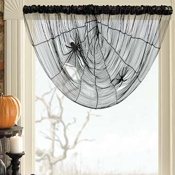 Spider Web String Cascade Valance &#8211; Heritage Lace &#8211; Halloween Collection &#8211; 7030B-3428