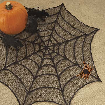 Spider Web 20″ Doily w/Spider (set of 3) – Heritage Lace – Halloween Collection – HW2000B-S