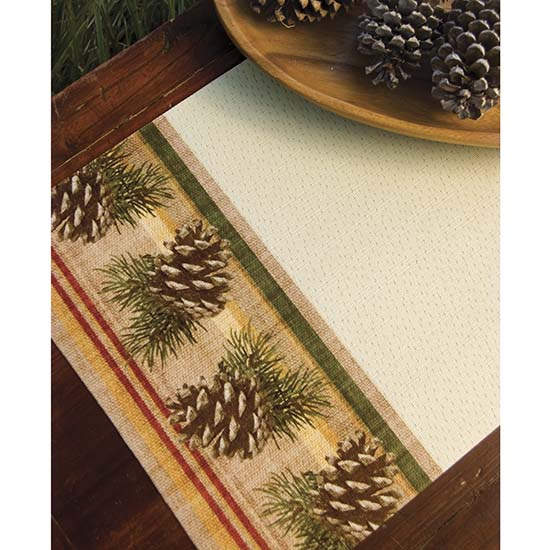 Pinecone Stripe Placemat  Heritage Lace  Lodge Collection  PE1319C-0572