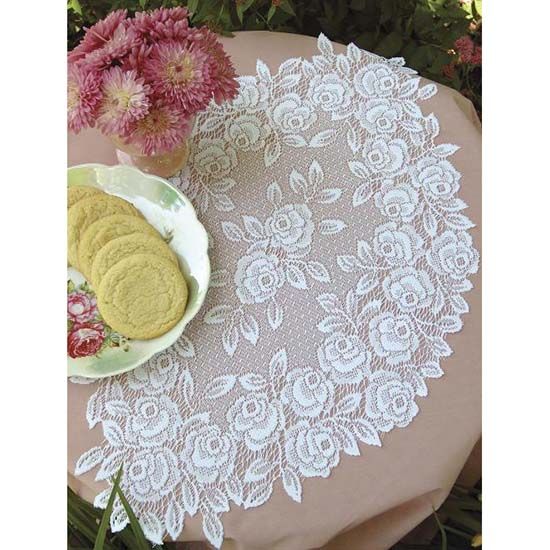 Tea Rose 14&#8243; x 24&#8243; Doily &#8211; Heritage Lace &#8211; Romantic Collection  &#8211; TR-1424E,  TR-1424W