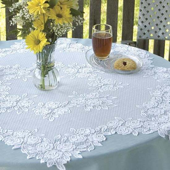 Tea Rose 42&#8243; Round Table Topper &#8211; Heritage Lace &#8211; Romantic Collection &#8211; TR-4200E,  TR-4200W