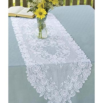 Tea Rose 14&#8243; x 60&#8243;  Runner &#8211; Heritage Lace &#8211; Romantic Collection &#8211; TR-1460E, TR-1460W