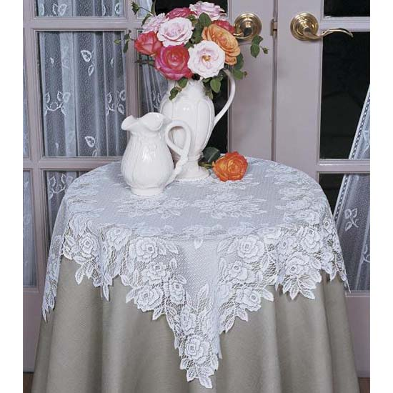 Tea Rose 30&#8243; Table Topper &#8211; Heritage Lace &#8211; Romantic Collection &#8211; TR-3030E,  TR-3030W