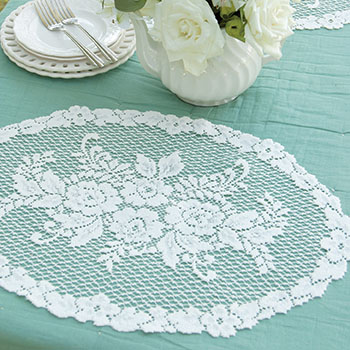 Victorian Rose Placemat (set of 2) - Heritage Lace Romantic Collection VR-1320E, VR-1320W