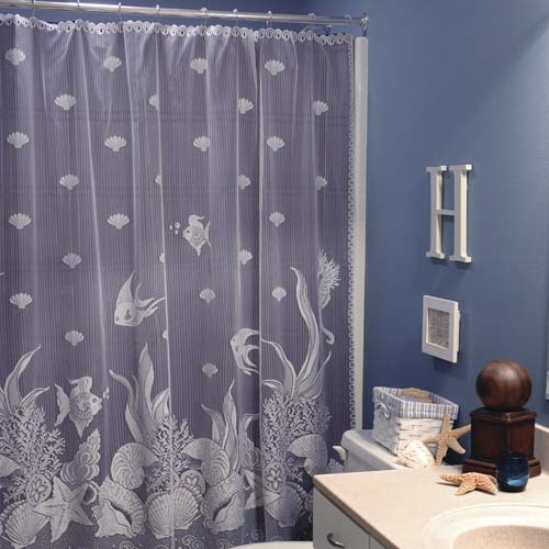 Seascape Shower Curtain - Heritage Lace Coastal Collection 6155W-OC
