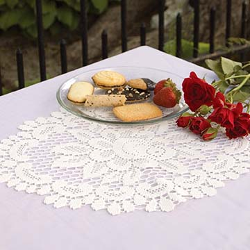 Rose 12″ x 16″ Doily – Heritage Lace – Timeless & Classic Collection  – 56672E, 56672W