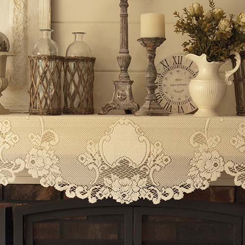 Vintage Rose 20&#8243; x 90&#8243; Mantle Scarf &#8211; Heritage Lace &#8211; Timeless &#038; Classic Collection  &#8211; VT-2090MSE, VT-2090MSW