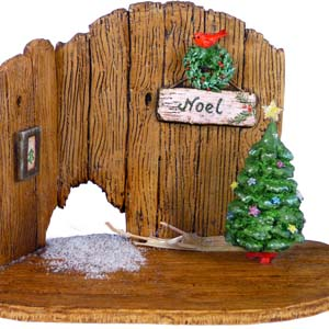 NM-4a Christmas Barn Door Backdrop &#8211; Wee Forest Folk Collectible