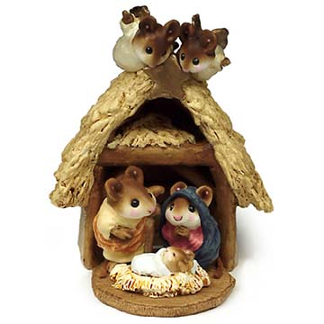 Chris-Mouse Pageant &#038; Stable (set) M-117, M-144  Wee Forest Folk Christmas Pageant