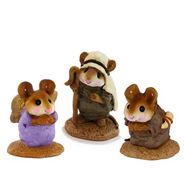 Shepherds & Angel (set of 3) M-122a, M-122b, M-145a - Wee Forest Folk Christmas Pageant
