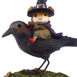 M378 The Raven RedEye  Halloween Wee Forest Folk Collectible