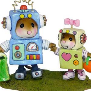 M-399 Robbie &amp; Rosie Robots - RETIRED Wee Forest Folk Collectible