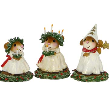 A Scandinavian Christmas Collectible Set &#8211; Santa Lucia&#8217;s Little Sister, Santa Lucia, Star Boy &#8211; M-448, M-449, M-450