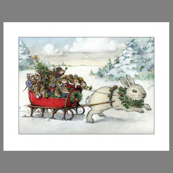 Note 8: Bunny Sleigh (set of 6 note cards)