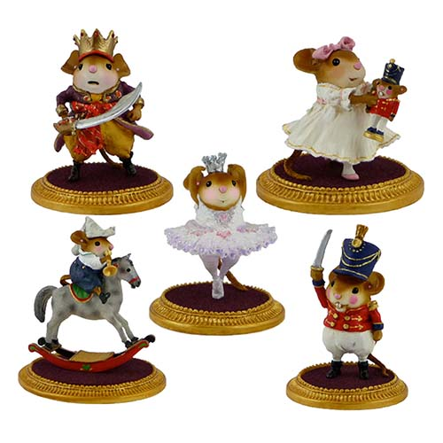 Nutcracker Set of 5 LIMITED &#8211; Sugar Plum Fairy, Clara, Fritz, Mouse King, Nutcracker &#8211; Wee Forest Folk &#8211; NC-1, NC-2, NC-3, NC-4, NC-5