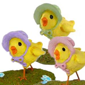 A-1 Little Chick In Bonnet (set of 3) – Easter Wee Forest Folk Collectible