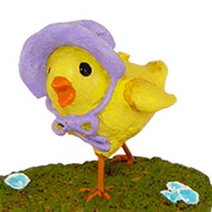 A-1 Little Chick In Bonnet &#8211; Easter Wee Forest Folk Collectible
