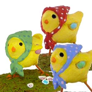 A-2 Little Chick with Kerchief (set of 3) - Wee Forest Folk Collectible - Easter