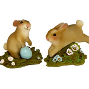 Bunnies (set of 2) &#8211; A-7 Standing Bunny, A-8 Jumping Bunny &#8211; Wee Forest Folk Collectible &#8211; Easter