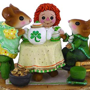 M-177e St. Patrick's Day Tea for Three - LIMITED Wee Forest Folk Collectible